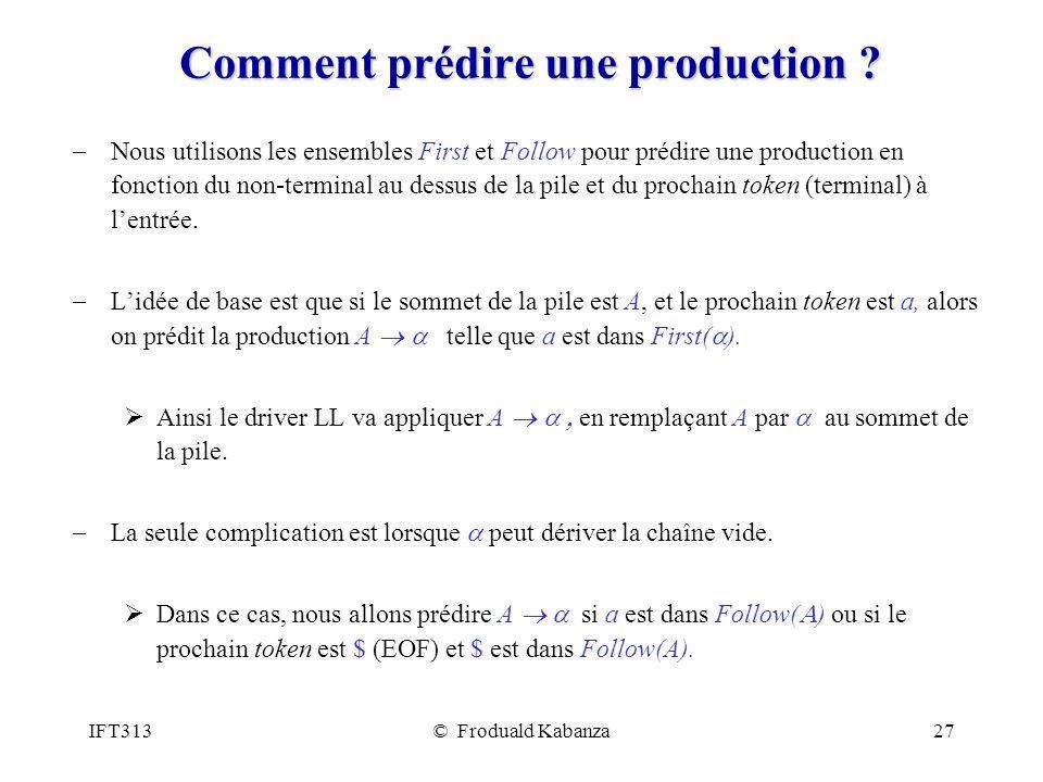 IFT313© Froduald Kabanza27 Comment prédire une production ? Nous utilisons les ensembles First et Follow pour prédire une production en fonction du no