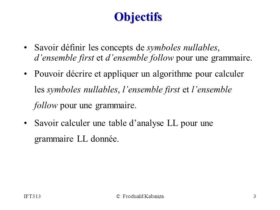 IFT313© Froduald Kabanza14 Utiliser lensemble First dans le driver LL Si le sommet de la pile contient un terminal X, le driver LL doit prédire la règle X tel que le prochain token est dans First( Exemple : G = (V, A, R, E) : V = {E, E, T, T} A = {(, ), +, *, n} R = { E TE E + TE | ε T FT | ε *FT | ε F n} First((E)) = {( } First(n) = {n} Si le sommet de la pile est F : - si le prochain token est (, le driver LL prédit F - sinon, si le prochain token est n le driver LL prédit F n - sinon le driver sort avec une erreur.