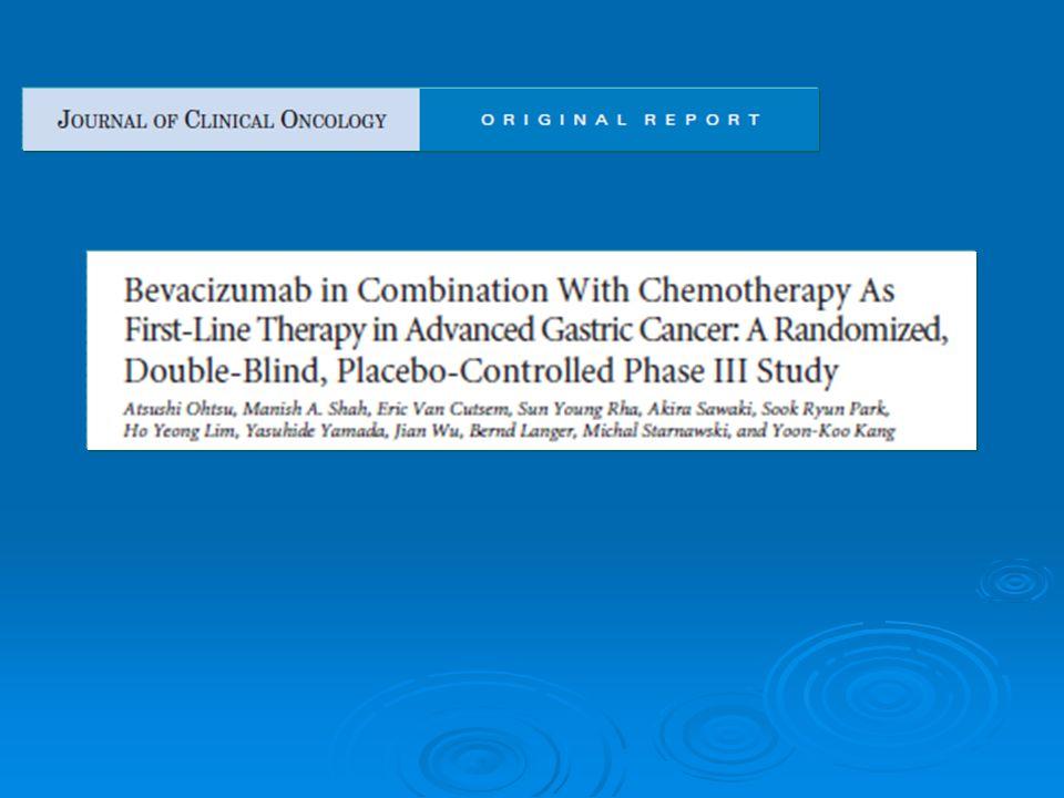 Etude AVAGAST Intérêt rajout bevacizumab à une chimiothérapie par 5FU cisplatine Intérêt rajout bevacizumab à une chimiothérapie par 5FU cisplatine Dans le cancer gastrique avancé Dans le cancer gastrique avancé