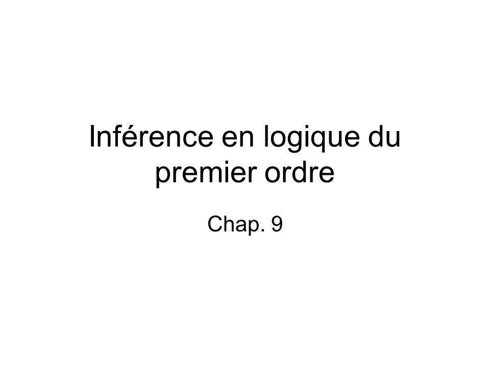 Inférence en logique du premier ordre Chap. 9