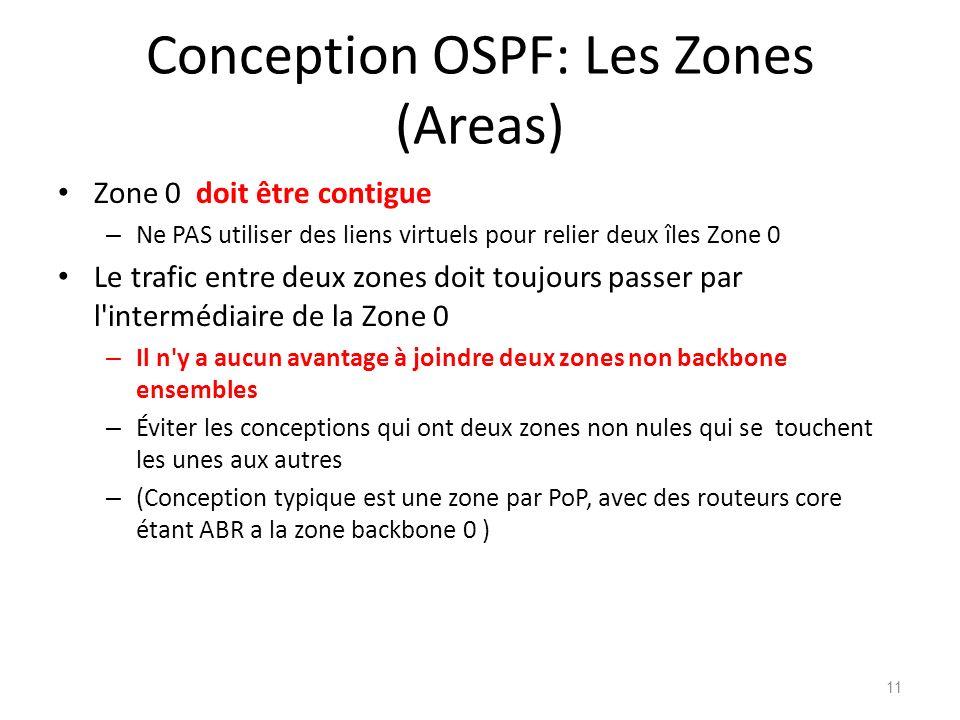 Conception OSPF: Les Zones (Areas) Zone 0 doit être contigue – Ne PAS utiliser des liens virtuels pour relier deux îles Zone 0 Le trafic entre deux zo