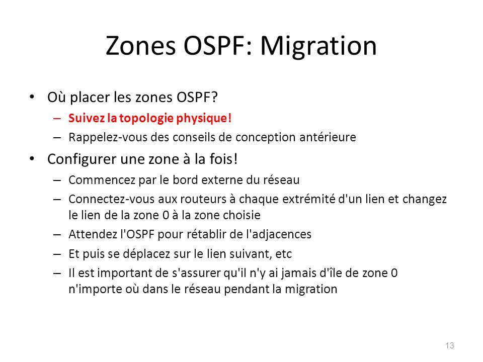 Zones OSPF: Migration Où placer les zones OSPF? – Suivez la topologie physique! – Rappelez-vous des conseils de conception antérieure Configurer une z