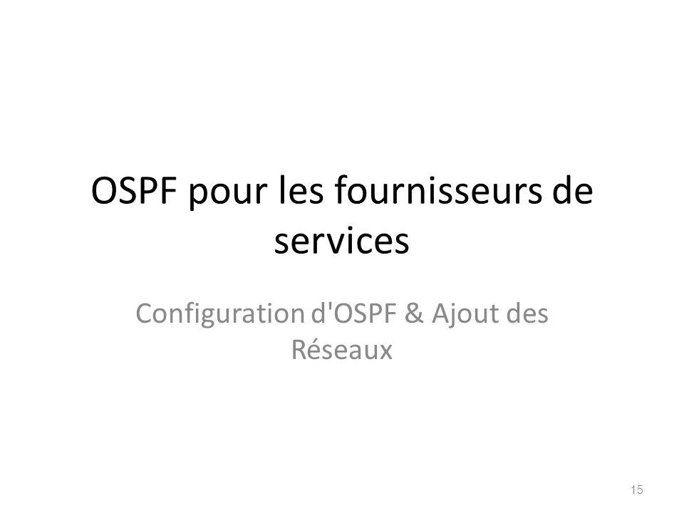 OSPF pour les fournisseurs de services Configuration d'OSPF & Ajout des Réseaux 15