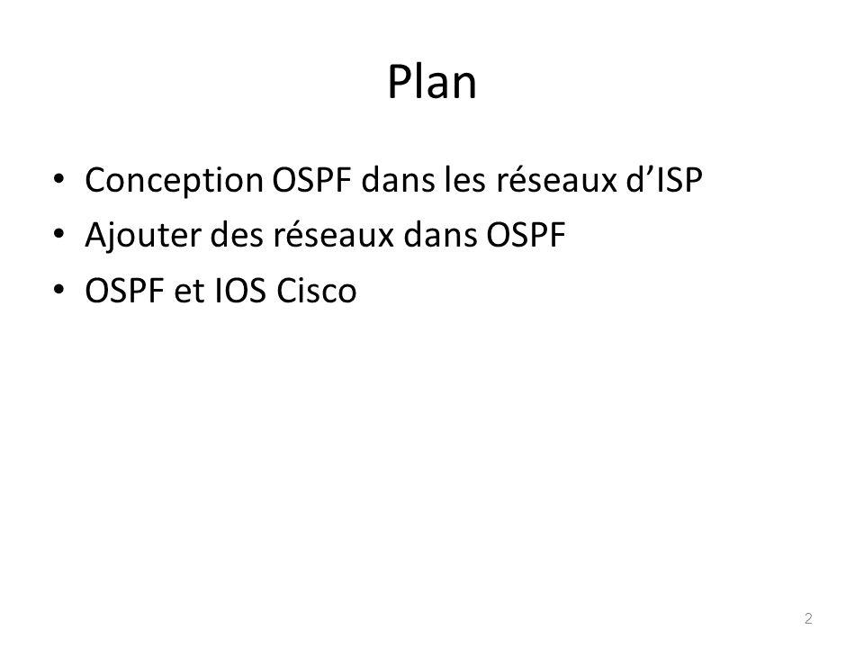 Plan Conception OSPF dans les réseaux dISP Ajouter des réseaux dans OSPF OSPF et IOS Cisco 2