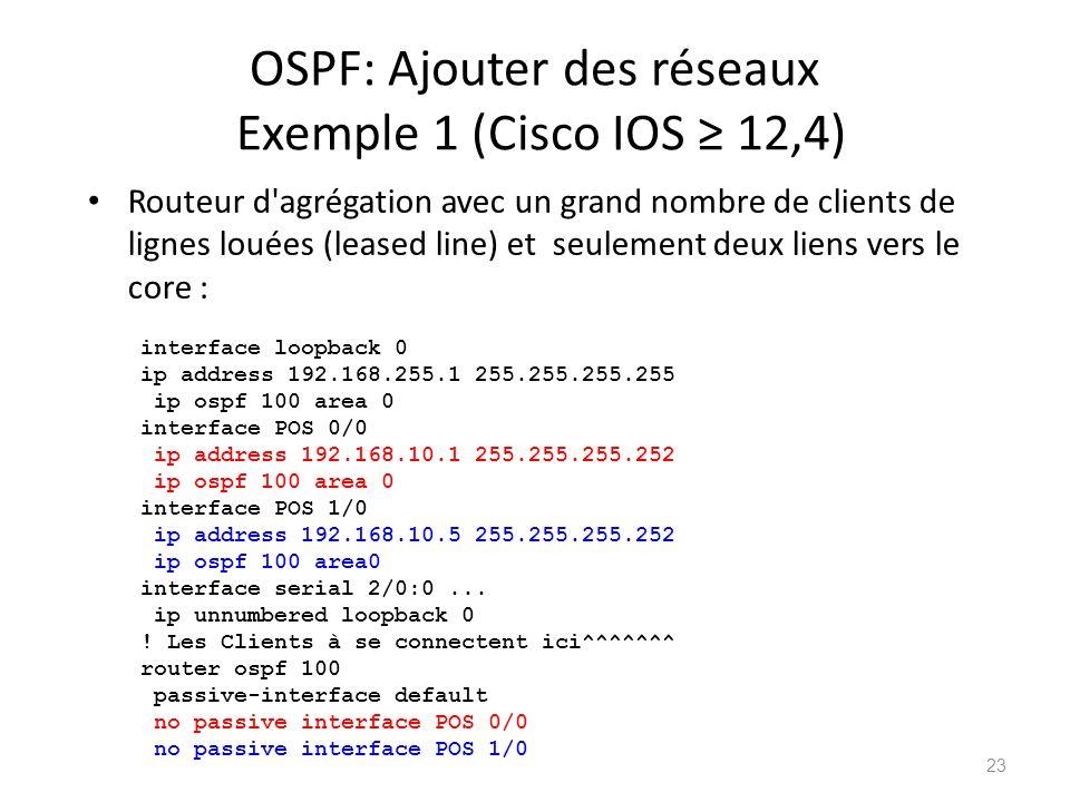 OSPF: Ajouter des réseaux Exemple 1 (Cisco IOS 12,4) Routeur d'agrégation avec un grand nombre de clients de lignes louées (leased line) et seulement