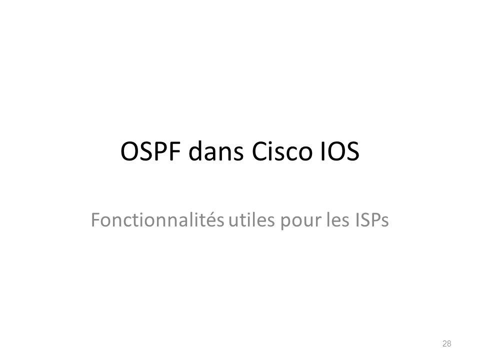OSPF dans Cisco IOS Fonctionnalités utiles pour les ISPs 28