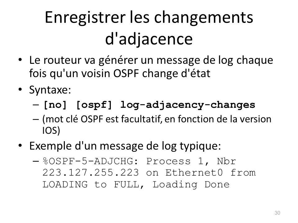 Enregistrer les changements d'adjacence Le routeur va générer un message de log chaque fois qu'un voisin OSPF change d'état Syntaxe: – [no] [ospf] log