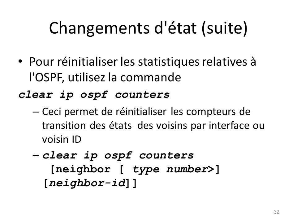Changements d'état (suite) Pour réinitialiser les statistiques relatives à l'OSPF, utilisez la commande clear ip ospf counters – Ceci permet de réinit
