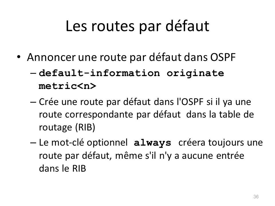 Les routes par défaut Annoncer une route par défaut dans OSPF – default-information originate metric – Crée une route par défaut dans l'OSPF si il ya