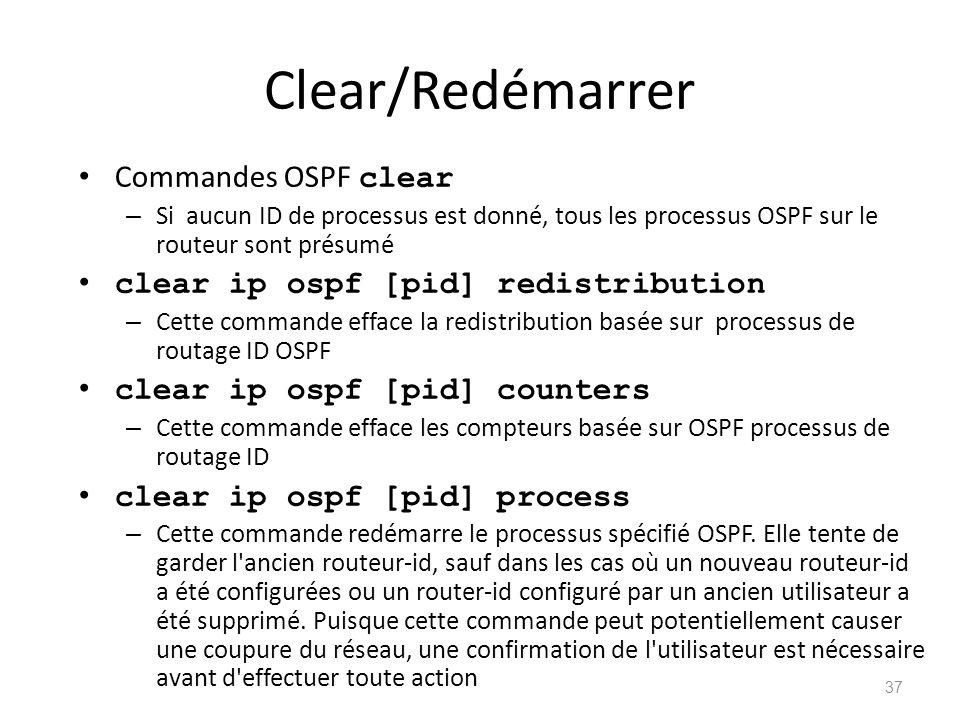 Clear/Redémarrer Commandes OSPF clear – Si aucun ID de processus est donné, tous les processus OSPF sur le routeur sont présumé clear ip ospf [pid] re