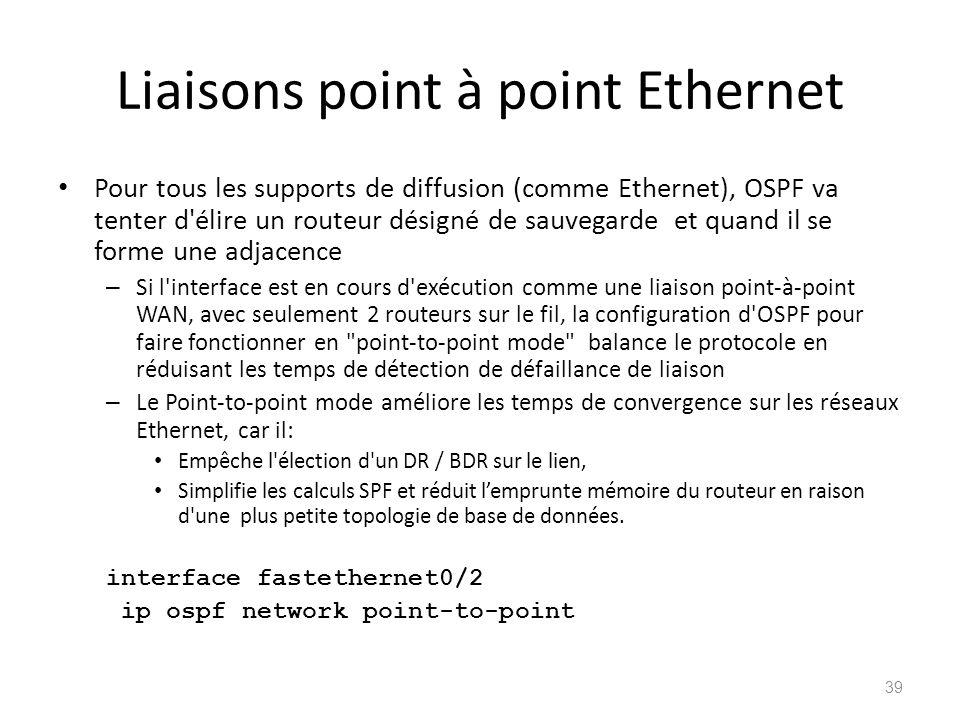 Liaisons point à point Ethernet Pour tous les supports de diffusion (comme Ethernet), OSPF va tenter d'élire un routeur désigné de sauvegarde et quand