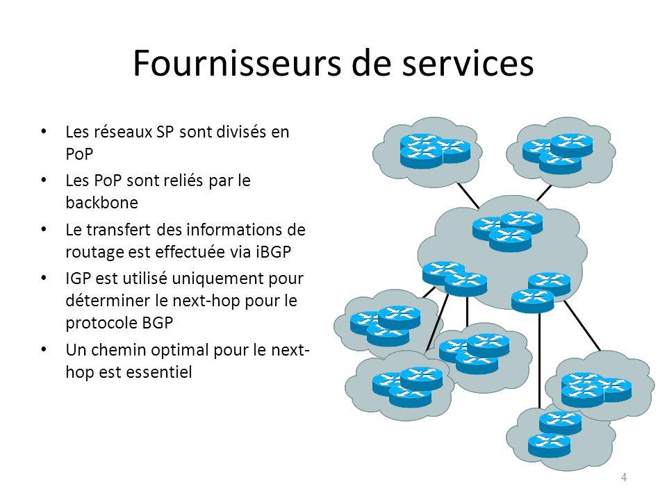 Fournisseurs de services Les réseaux SP sont divisés en PoP Les PoP sont reliés par le backbone Le transfert des informations de routage est effectuée