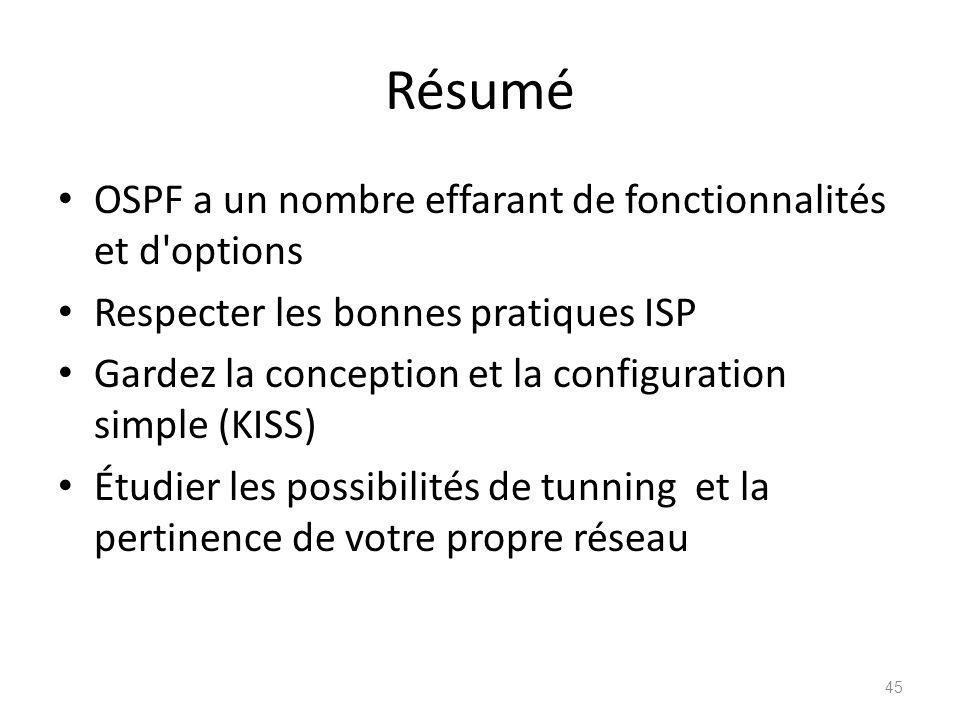 Résumé OSPF a un nombre effarant de fonctionnalités et d'options Respecter les bonnes pratiques ISP Gardez la conception et la configuration simple (K