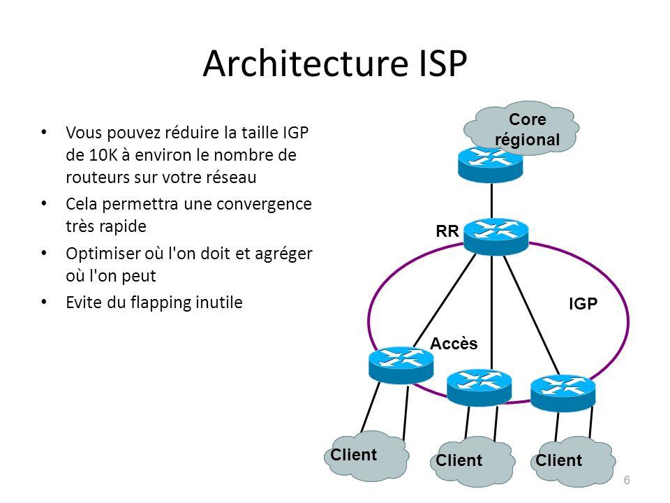 Architecture ISP Vous pouvez réduire la taille IGP de 10K à environ le nombre de routeurs sur votre réseau Cela permettra une convergence très rapide