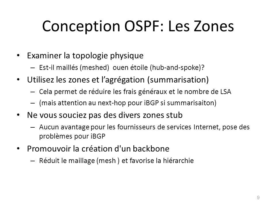 Conception OSPF: Les Zones Examiner la topologie physique – Est-il maillés (meshed) ouen étoile (hub-and-spoke)? Utilisez les zones et lagrégation (su
