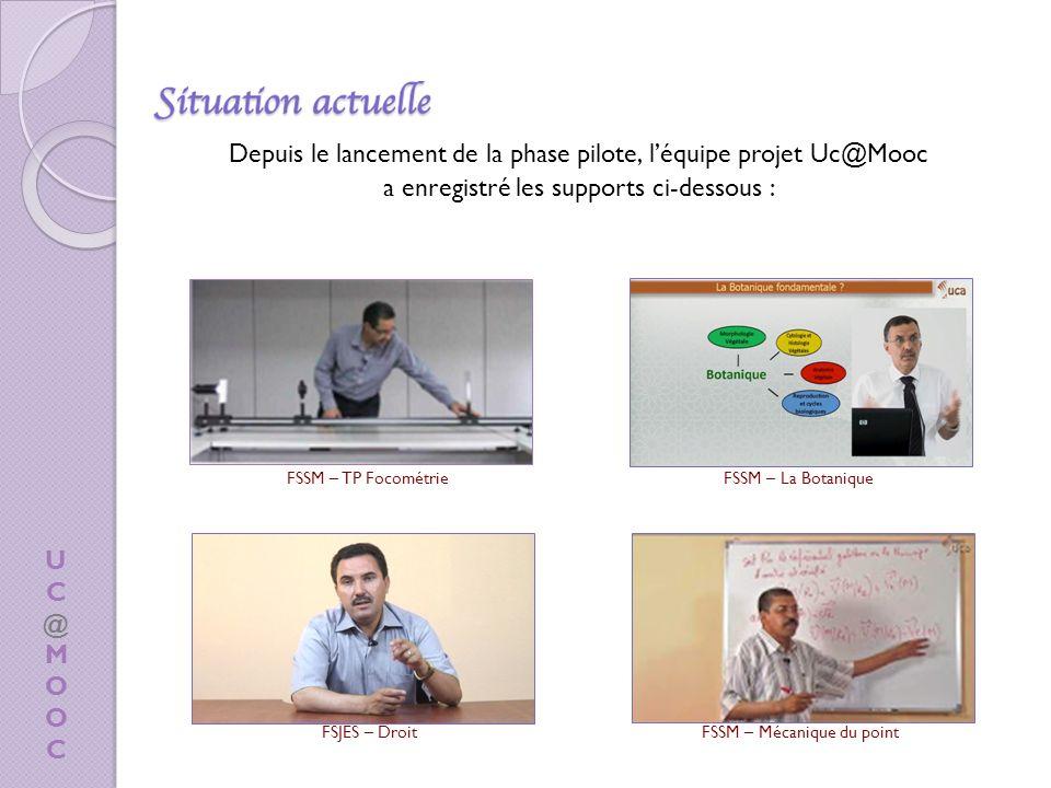 Depuis le lancement de la phase pilote, léquipe projet Uc@Mooc a enregistré les supports ci-dessous : UC@MOOCUC@MOOC FSSM – TP FocométrieFSSM – La Botanique FSJES – DroitFSSM – Mécanique du point