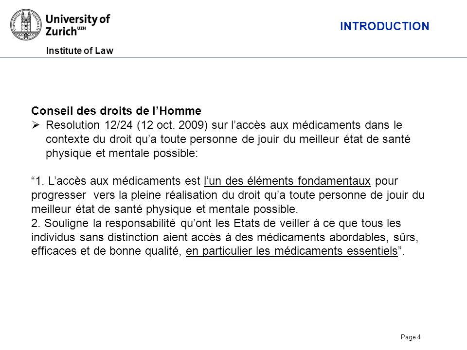 Institute of Law Page 4 INTRODUCTION Conseil des droits de lHomme Resolution 12/24 (12 oct.