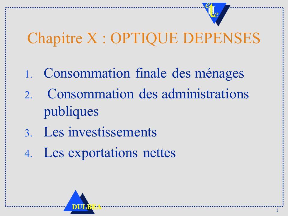 1 DULBEA Chapitre X : OPTIQUE DEPENSES 1. Consommation finale des ménages 2.