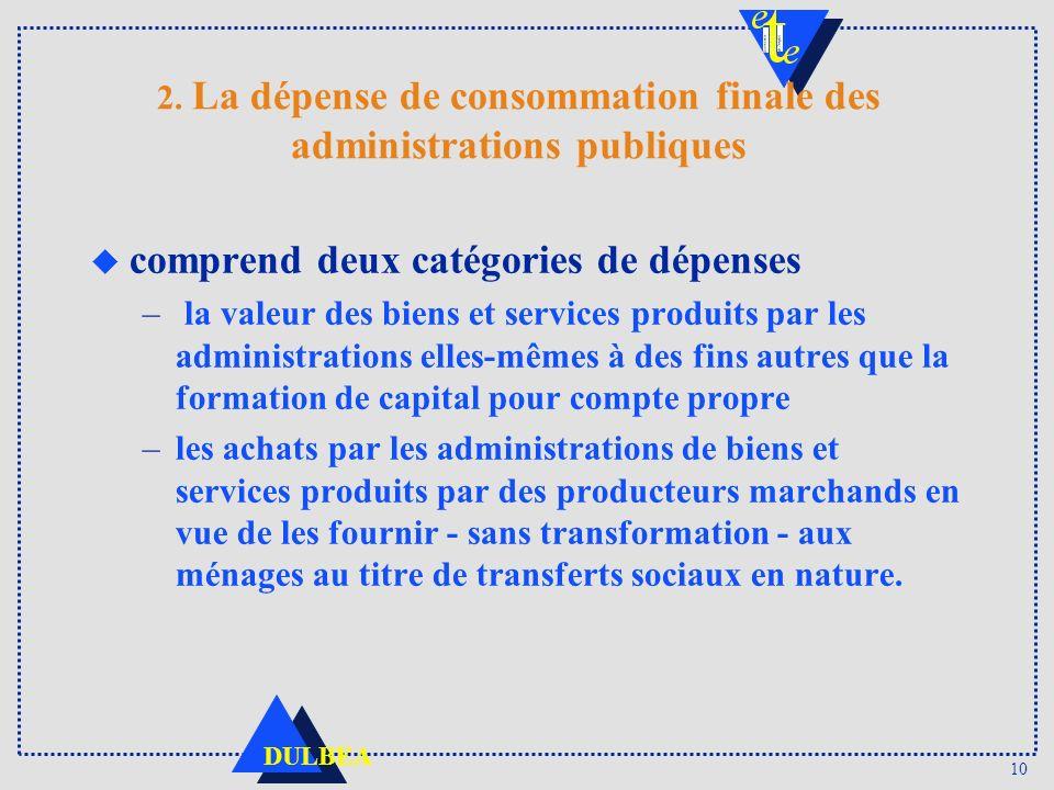 10 DULBEA 2. La dépense de consommation finale des administrations publiques u comprend deux catégories de dépenses – la valeur des biens et services