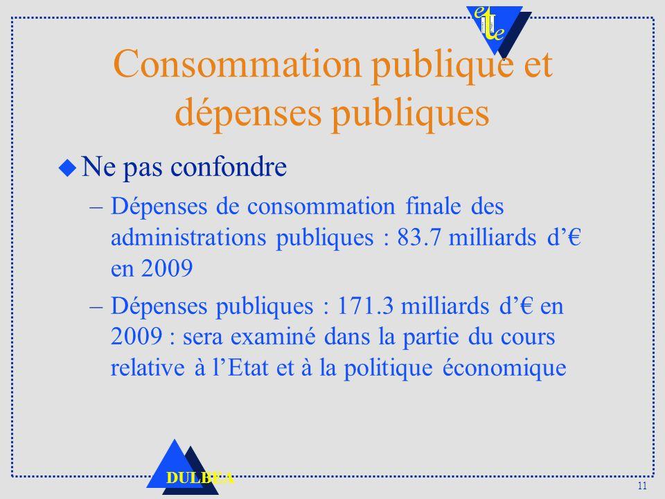 11 DULBEA Consommation publique et dépenses publiques u Ne pas confondre –Dépenses de consommation finale des administrations publiques : 83.7 milliards d en 2009 –Dépenses publiques : 171.3 milliards d en 2009 : sera examiné dans la partie du cours relative à lEtat et à la politique économique