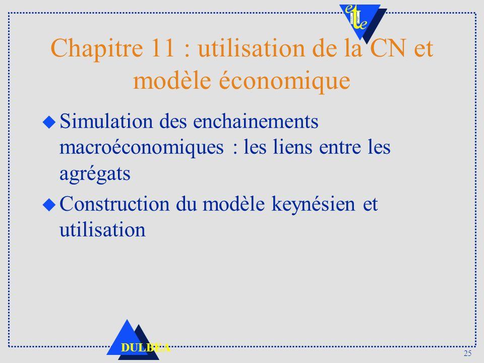 25 DULBEA Chapitre 11 : utilisation de la CN et modèle économique u Simulation des enchainements macroéconomiques : les liens entre les agrégats u Construction du modèle keynésien et utilisation