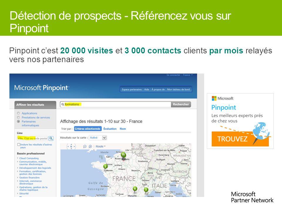 Détection de prospects - Référencez vous sur Pinpoint Pinpoint cest 20 000 visites et 3 000 contacts clients par mois relayés vers nos partenaires