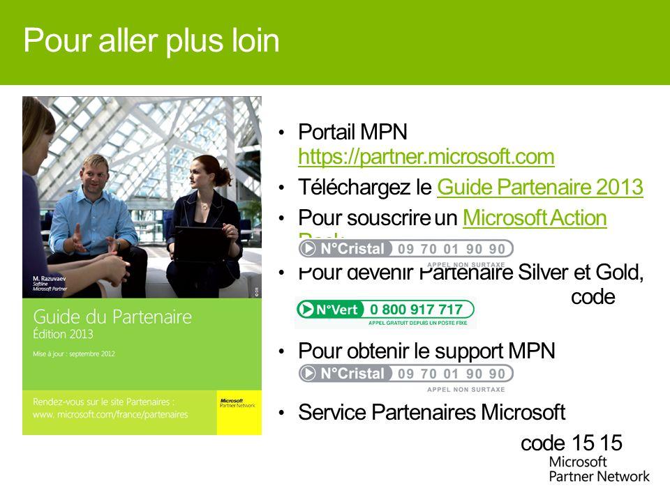 Pour aller plus loin Portail MPN https://partner.microsoft.com https://partner.microsoft.com Téléchargez le Guide Partenaire 2013Guide Partenaire 2013