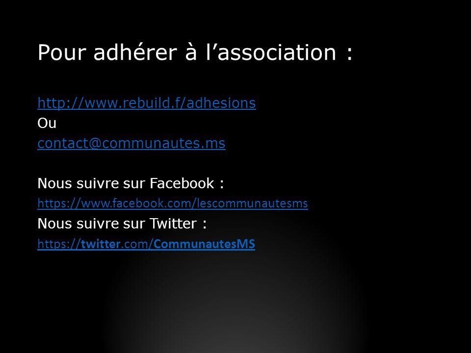 Pour adhérer à lassociation : http://www.rebuild.f/adhesions Ou contact@communautes.ms Nous suivre sur Facebook : https://www.facebook.com/lescommunau