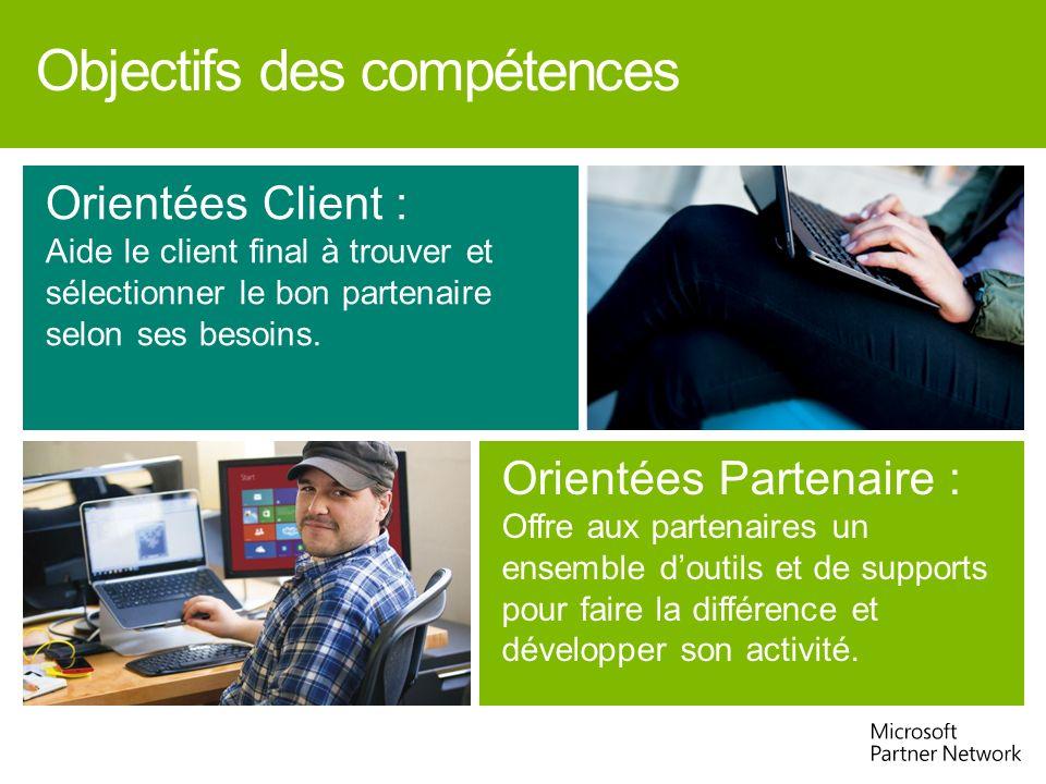 Objectifs des compétences Orientées Client : Aide le client final à trouver et sélectionner le bon partenaire selon ses besoins. Orientées Partenaire
