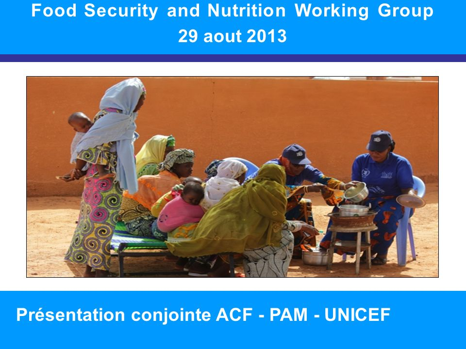 SITUATION NUTRITIONNELLE DANS LA RÉGION 1 Food Security and Nutrition Working Group 29 aout 2013 Présentation conjointe ACF - PAM - UNICEF