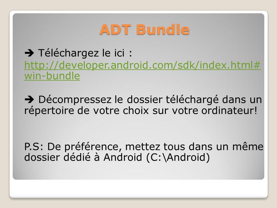 ADT Bundle Téléchargez le ici : http://developer.android.com/sdk/index.html# win-bundle Décompressez le dossier téléchargé dans un répertoire de votre