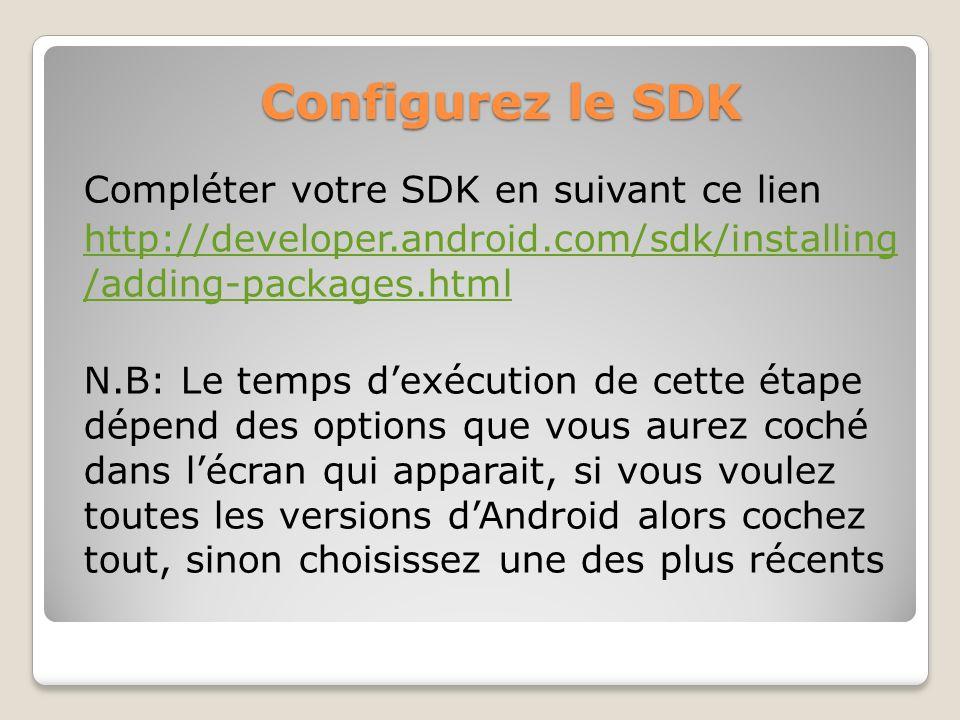 Configurez le SDK Compléter votre SDK en suivant ce lien http://developer.android.com/sdk/installing /adding-packages.html N.B: Le temps dexécution de