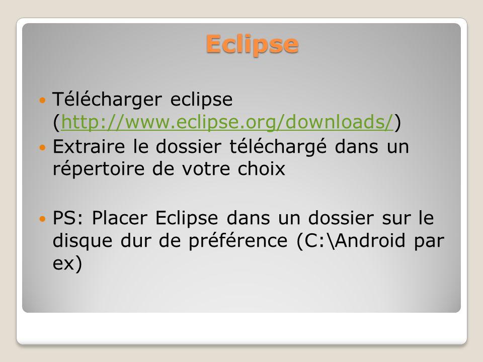 Eclipse Télécharger eclipse (http://www.eclipse.org/downloads/)http://www.eclipse.org/downloads/ Extraire le dossier téléchargé dans un répertoire de