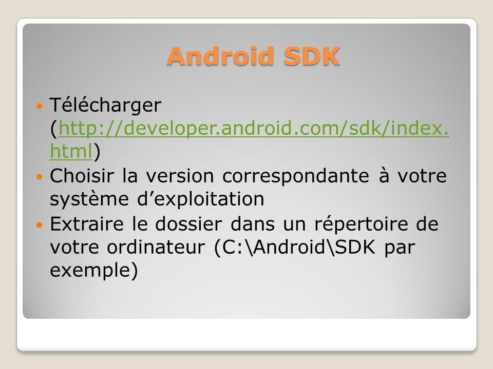 Android SDK Télécharger (http://developer.android.com/sdk/index. html)http://developer.android.com/sdk/index. html Choisir la version correspondante à