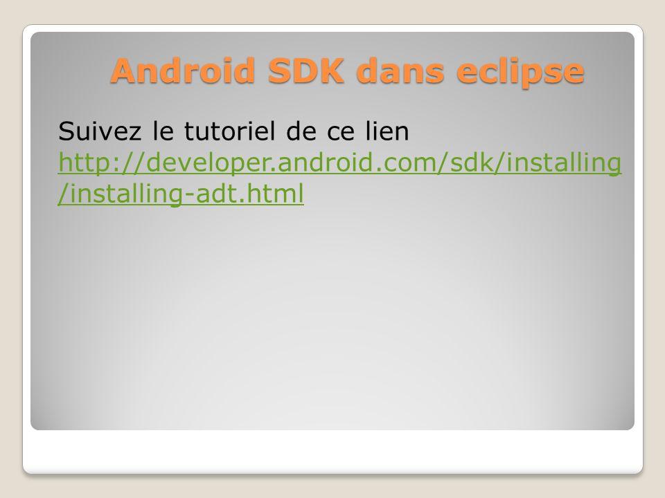Android SDK dans eclipse Suivez le tutoriel de ce lien http://developer.android.com/sdk/installing /installing-adt.html http://developer.android.com/s