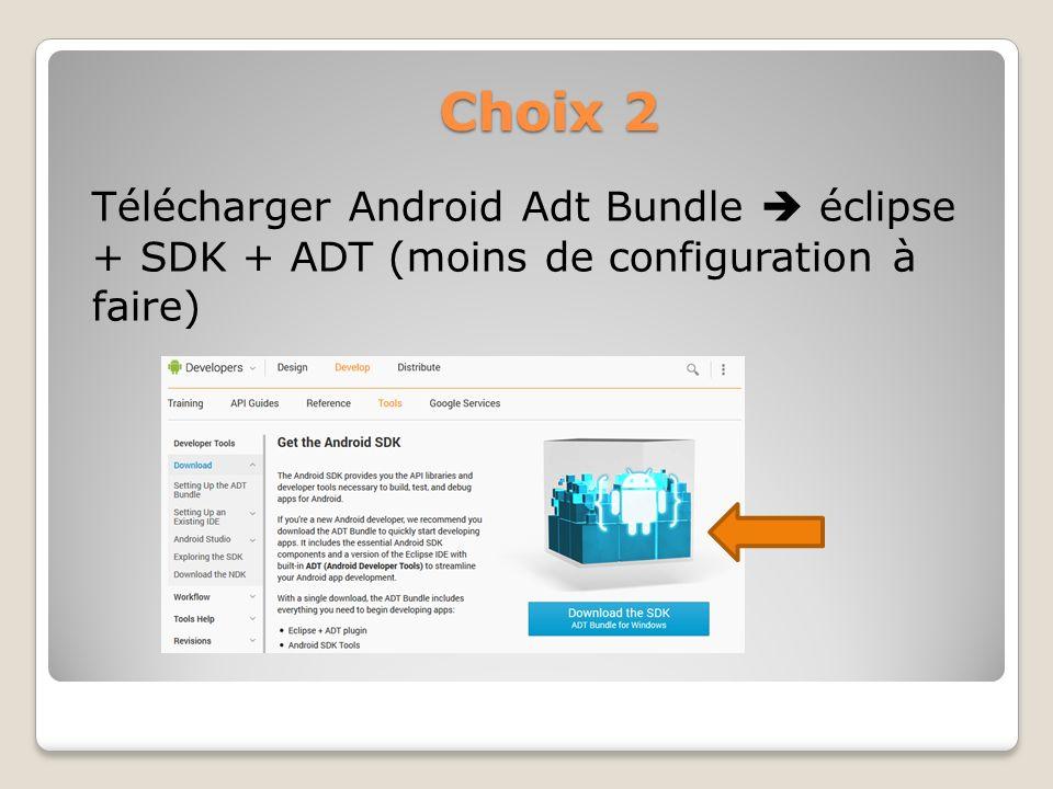 Choix 2 Télécharger Android Adt Bundle éclipse + SDK + ADT (moins de configuration à faire)