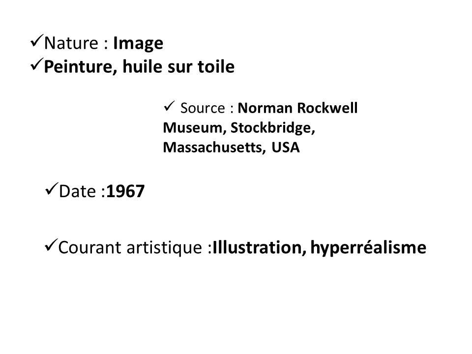 Nature : Image Peinture, huile sur toile Source : Norman Rockwell Museum, Stockbridge, Massachusetts, USA Date :1967 Courant artistique :Illustration, hyperréalisme