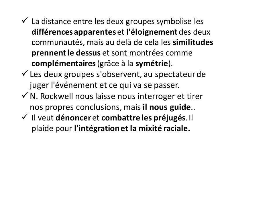 La distance entre les deux groupes symbolise les différences apparentes et l éloignement des deux communautés, mais au delà de cela les similitudes prennent le dessus et sont montrées comme complémentaires (grâce à la symétrie).