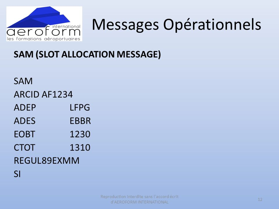 Messages Opérationnels SAM (SLOT ALLOCATION MESSAGE) SAM ARCIDAF1234 ADEPLFPG ADESEBBR EOBT1230 CTOT1310 REGUL89EXMM SI 12 Reproduction Interdite sans