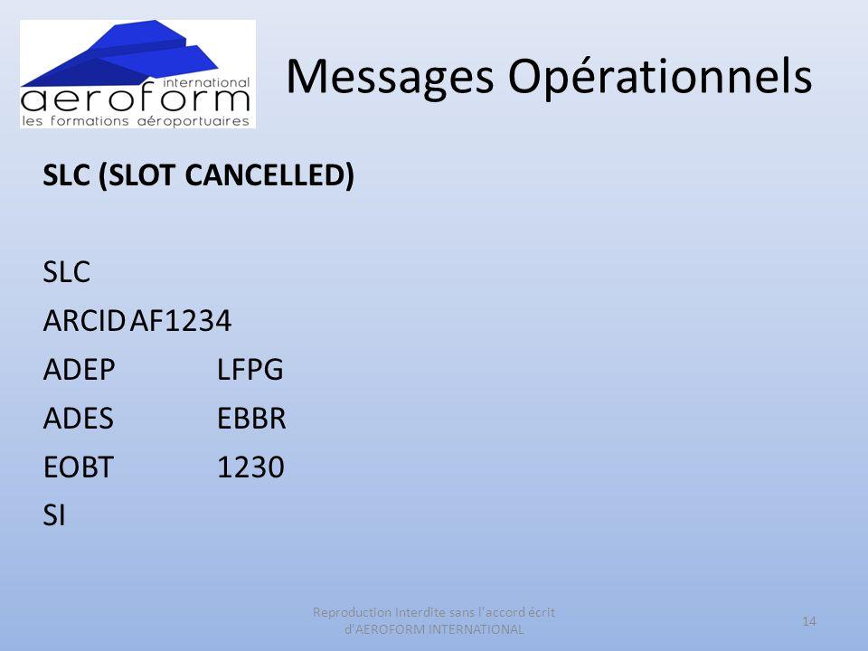 Messages Opérationnels SLC (SLOT CANCELLED) SLC ARCIDAF1234 ADEPLFPG ADESEBBR EOBT1230 SI 14 Reproduction Interdite sans l'accord écrit d'AEROFORM INT