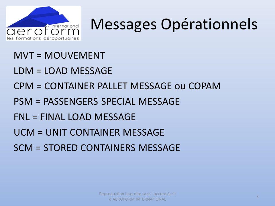 Messages Opérationnels MVT = MOUVEMENT LDM = LOAD MESSAGE CPM = CONTAINER PALLET MESSAGE ou COPAM PSM = PASSENGERS SPECIAL MESSAGE FNL = FINAL LOAD ME