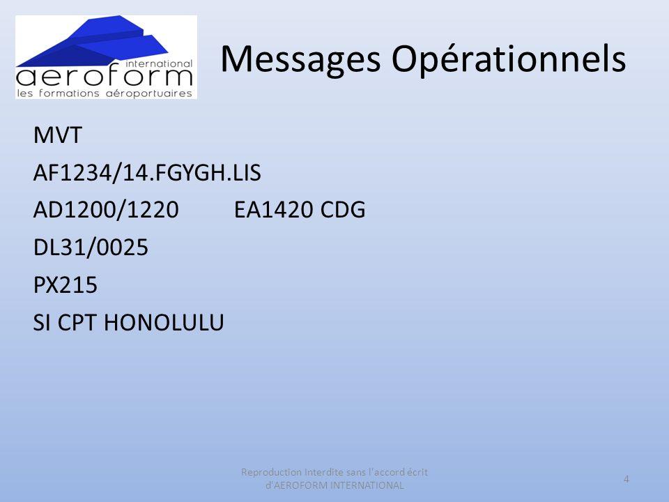 Messages Opérationnels LDM AF1234/14.FGYGH.2/3.LIS - CDG.100/70/45/2.T1050.1/0.2/500.3/500.4/50.5/0.PAX/215.PAD/0 BAG/1000.C/50.M/NIL SI/1 BUGGY IN HOLD3 ATTENTION : LES POIDS FIGURANTS SUR LE LDM SONT DES POIDS EN NETS 5 Reproduction Interdite sans l accord écrit d AEROFORM INTERNATIONAL