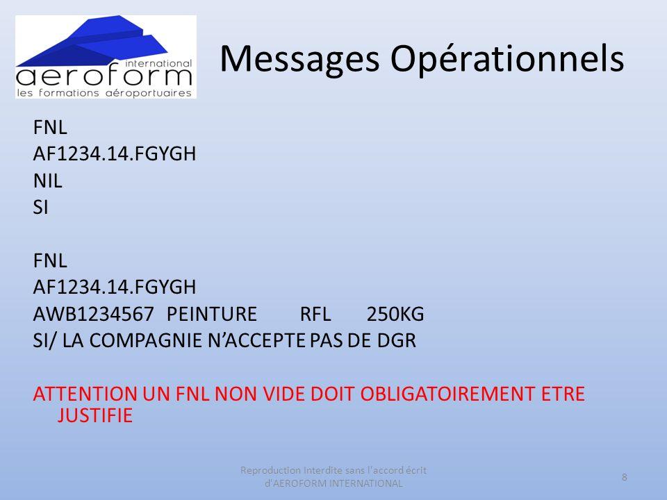 Messages Opérationnels FNL AF1234.14.FGYGH NIL SI FNL AF1234.14.FGYGH AWB1234567PEINTURE RFL250KG SI/ LA COMPAGNIE NACCEPTE PAS DE DGR ATTENTION UN FN