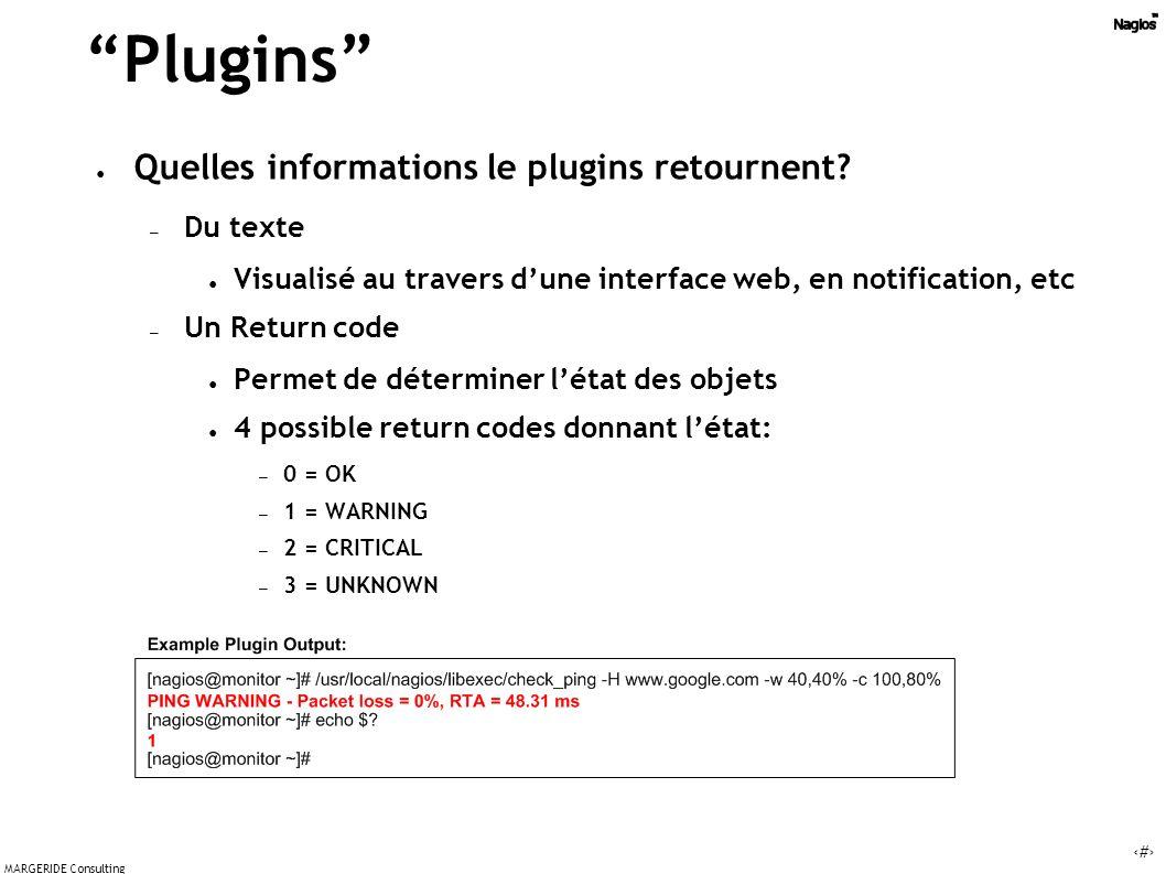 14 MARGERIDE Consulting Plugins Quelles informations le plugins retournent.