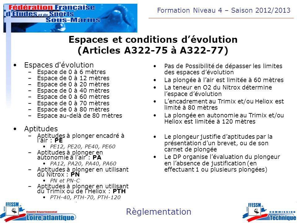 Formation Niveau 4 – Saison 2012/2013 Règlementation Espaces et conditions dévolution (Articles A322-75 à A322-77) Espaces d'évolution –Espace de 0 à