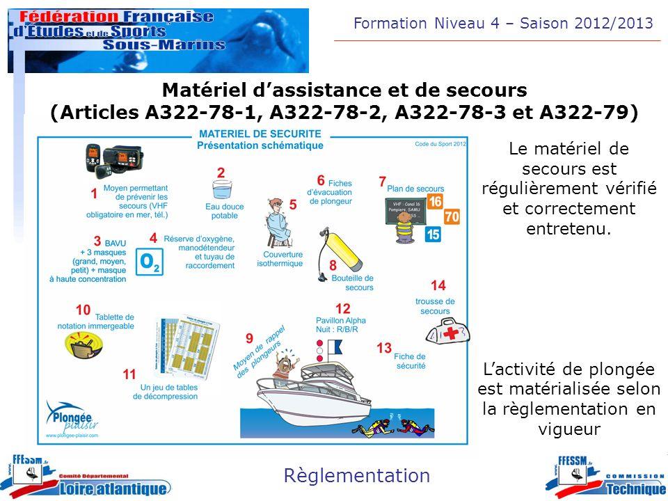 Formation Niveau 4 – Saison 2012/2013 Règlementation Matériel dassistance et de secours (Articles A322-78-1, A322-78-2, A322-78-3 et A322-79) Le matér