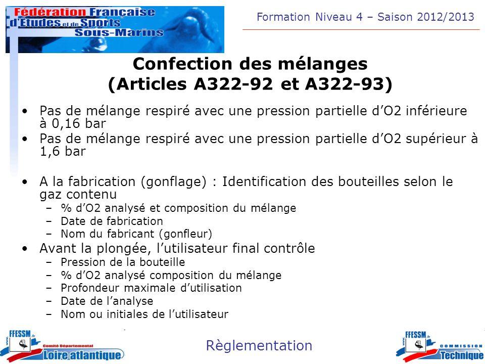 Formation Niveau 4 – Saison 2012/2013 Règlementation Confection des mélanges (Articles A322-92 et A322-93) Pas de mélange respiré avec une pression pa