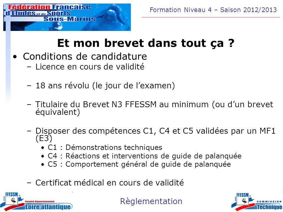 Formation Niveau 4 – Saison 2012/2013 Règlementation Et mon brevet dans tout ça ? Conditions de candidature –Licence en cours de validité –18 ans révo
