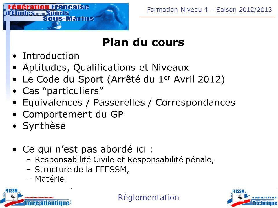 Formation Niveau 4 – Saison 2012/2013 Règlementation Plan du cours Introduction Aptitudes, Qualifications et Niveaux Le Code du Sport (Arrêté du 1 er