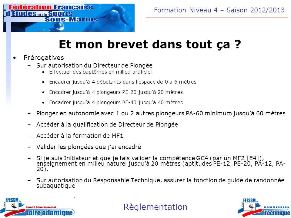 Formation Niveau 4 – Saison 2012/2013 Règlementation Et mon brevet dans tout ça ? Prérogatives –Sur autorisation du Directeur de Plongée Effectuer des